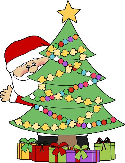 Clipart christmas tree images image royalty free library christmas clip art | Santa Behind a Christmas Tree Clip Art - Santa ... image royalty free library