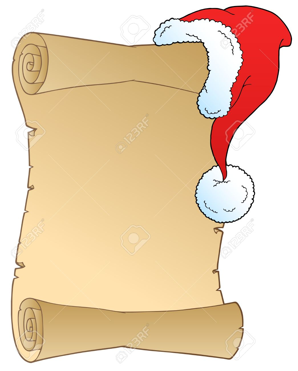 Clipartfest scroll with hat. Christmas list clipart