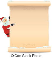 Vector and illustration santa. Christmas list clipart