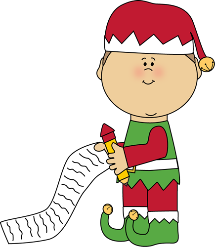 Elf with a clip. Christmas list clipart