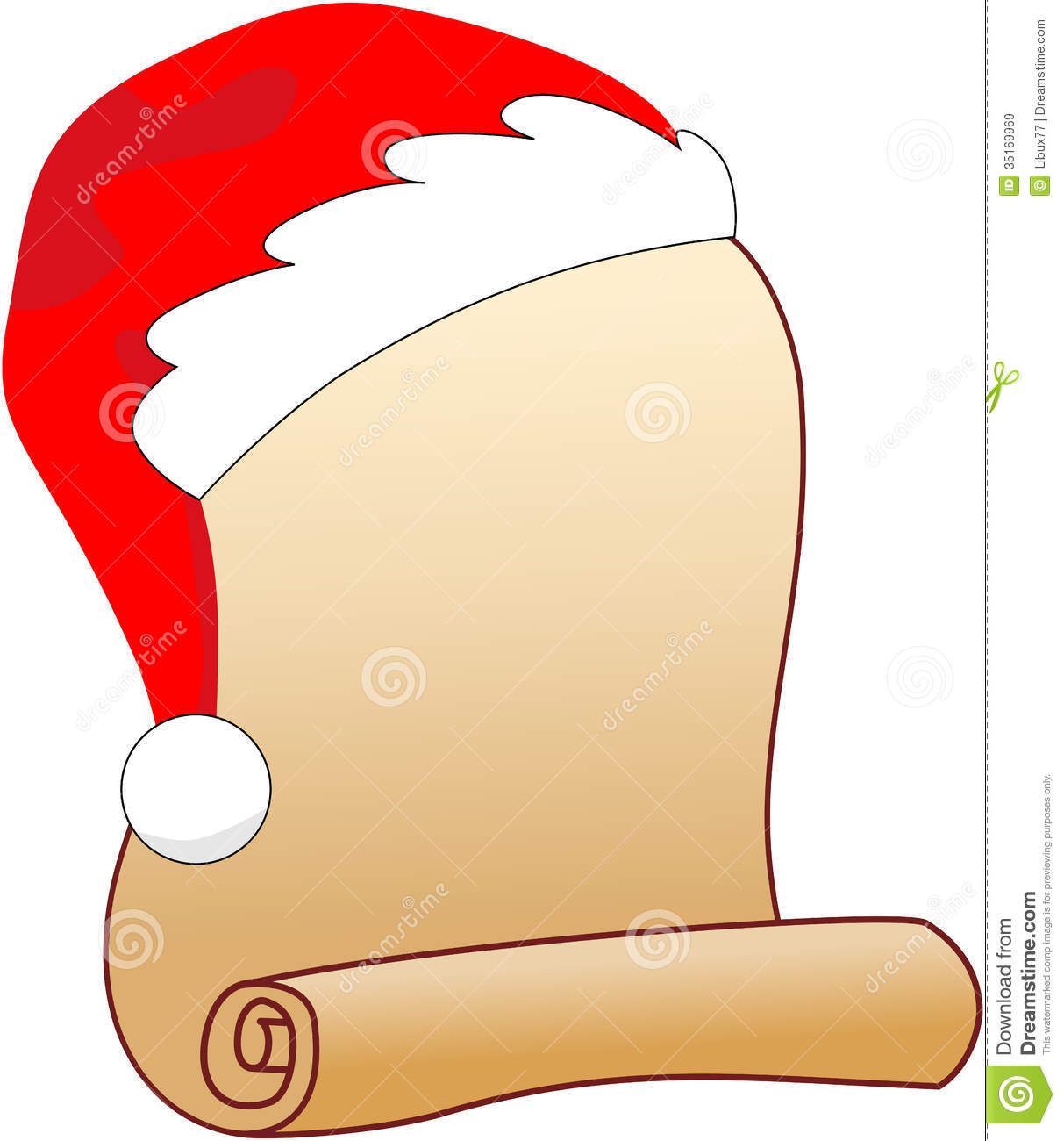 Scroll download. Christmas list clipart