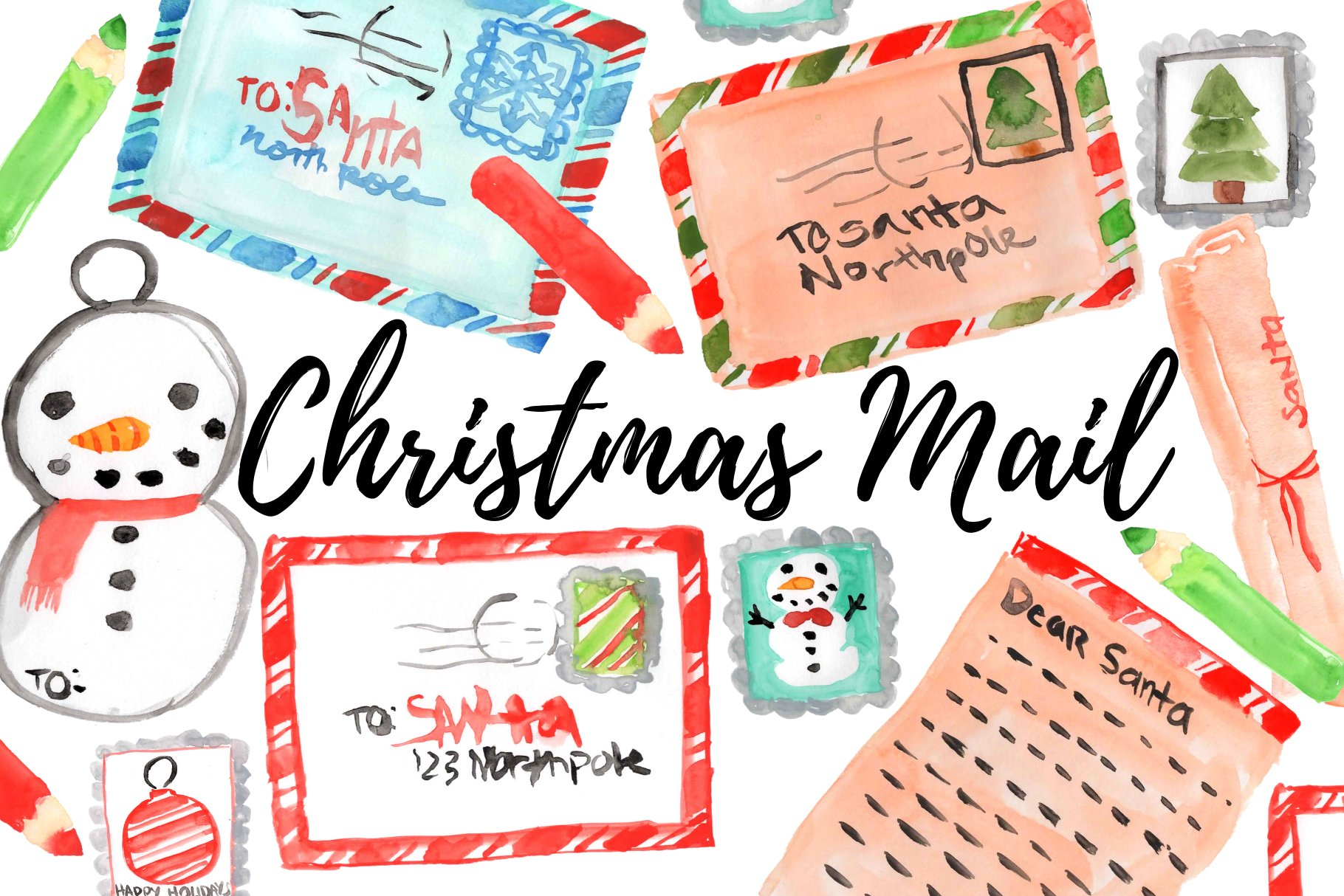 Christmas mail clipart graphic freeuse stock Watercolor Christmas Mail Clipart graphic freeuse stock