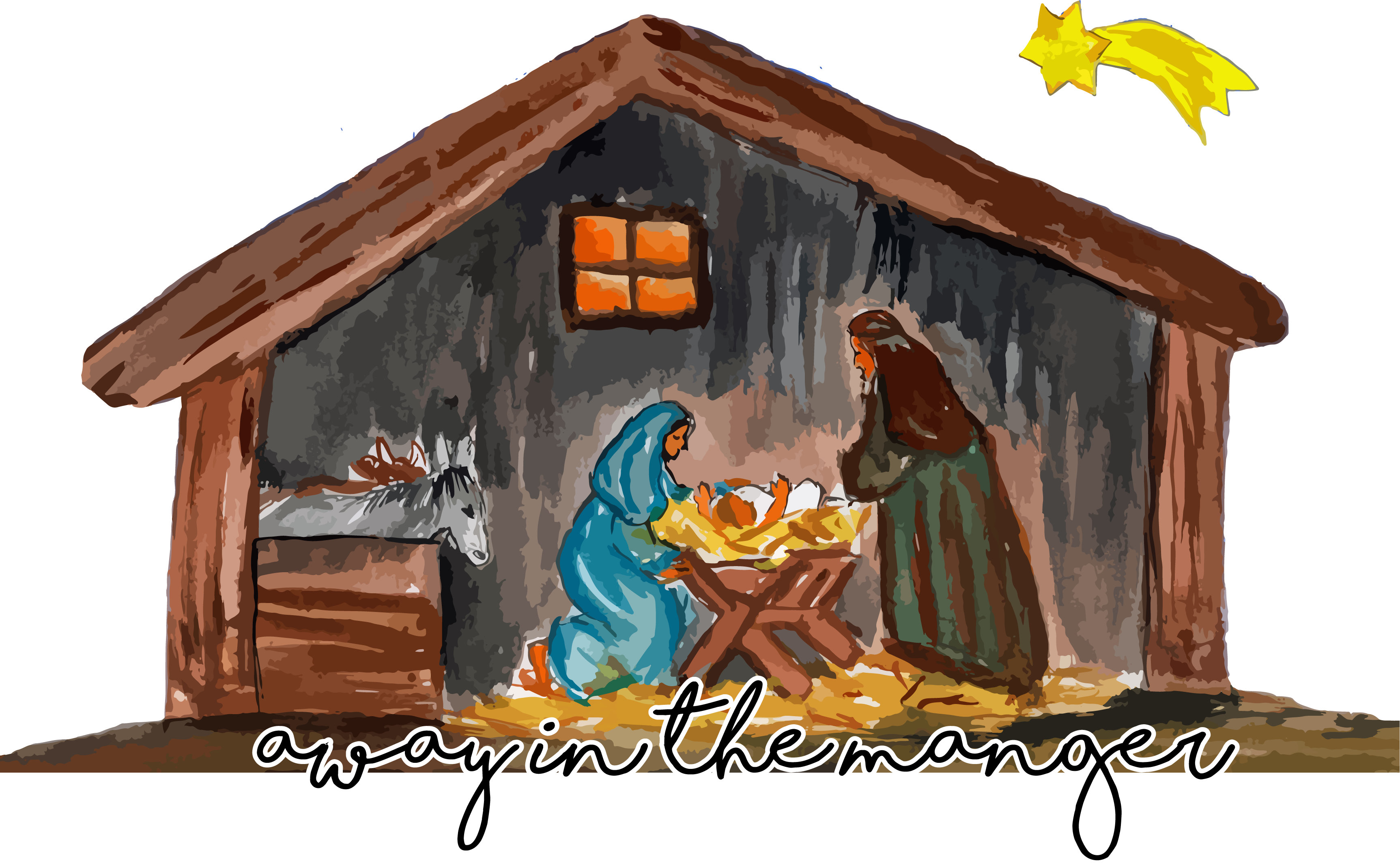 Christmas manger scene clipart clip black and white library Christmas Printed Transfers 2017 (4) – Sew Down South clip black and white library