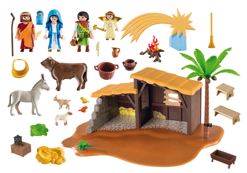 Nativity christmas clipart png transparent library PLAYMOBIL Christmas Nativity Stable with Manger 5588 – Toys2Learn png transparent library