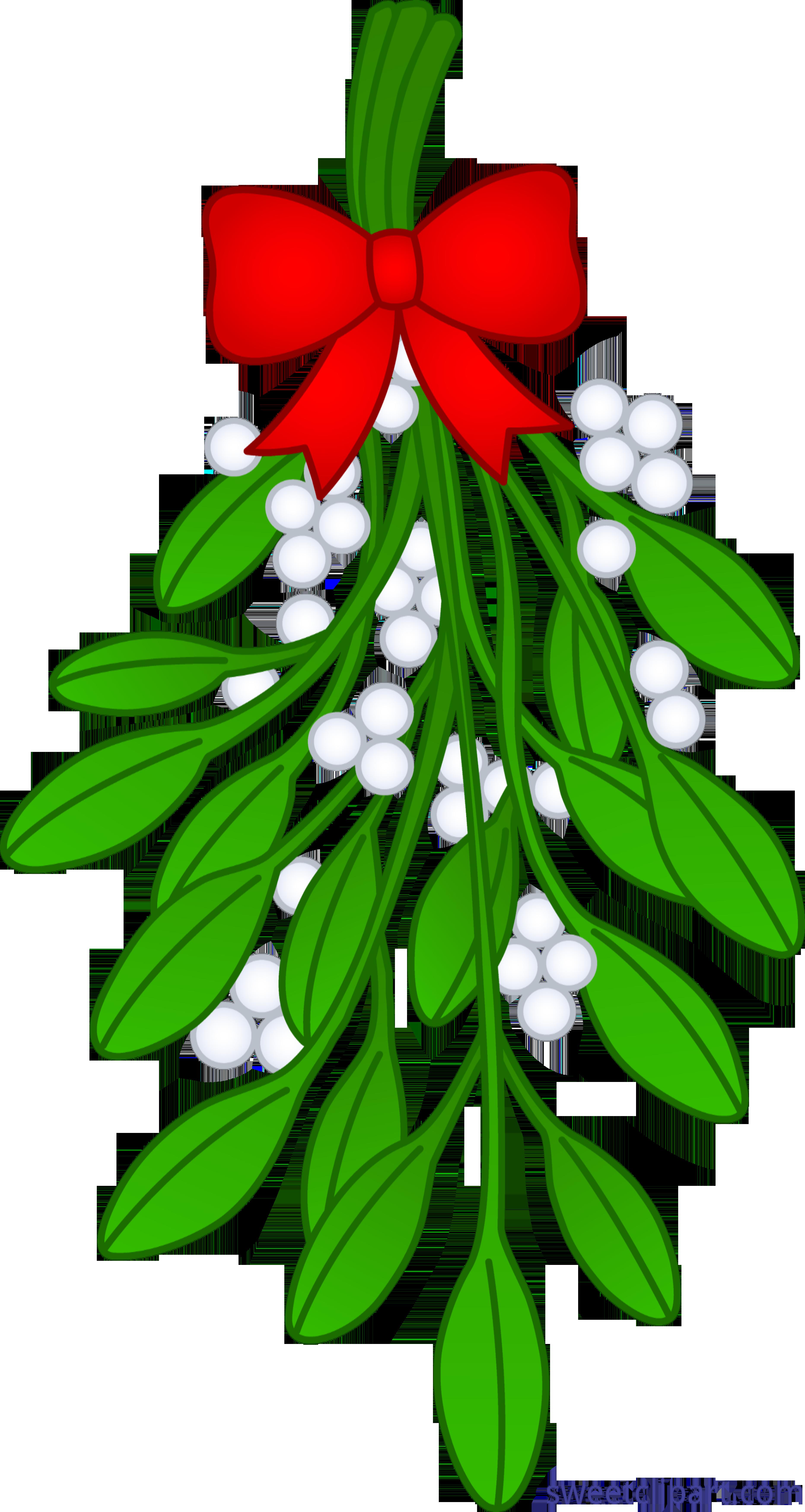Christmas mistletoe clipart graphic library library Christmas Mistletoe With Ribbon Clip Art - Sweet Clip Art graphic library library