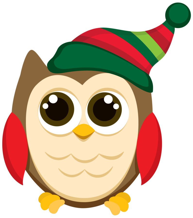 Owls clip art patterns. Cute christmas owl clipart