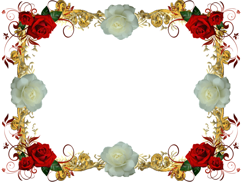 Christmas music border clipart png library stock Red And White Rose Frame 3 by Lady1Venus on DeviantArt png library stock