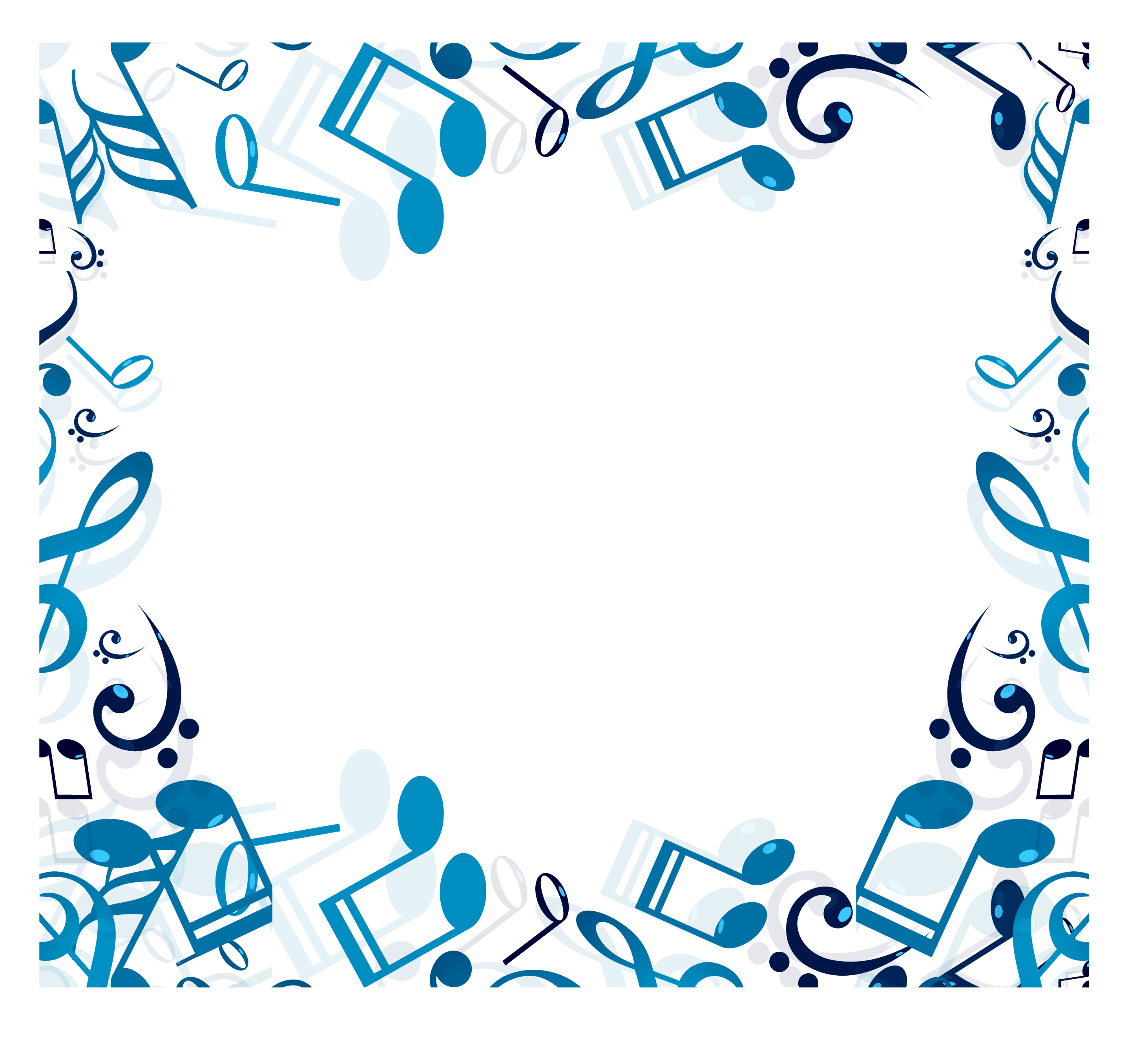 Christmas music border clipart picture royalty free download Musical note Clip art - Blue music note border 2925*2655 transprent ... picture royalty free download