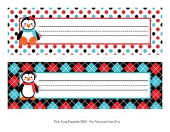 Christmas nameplates clipart banner royalty free Christmas Winter Penguin Desk Name Plates banner royalty free