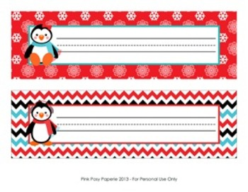 Christmas nameplates clipart clip library stock Christmas Winter Penguin Desk Name Plates   5 senses   Desk name ... clip library stock
