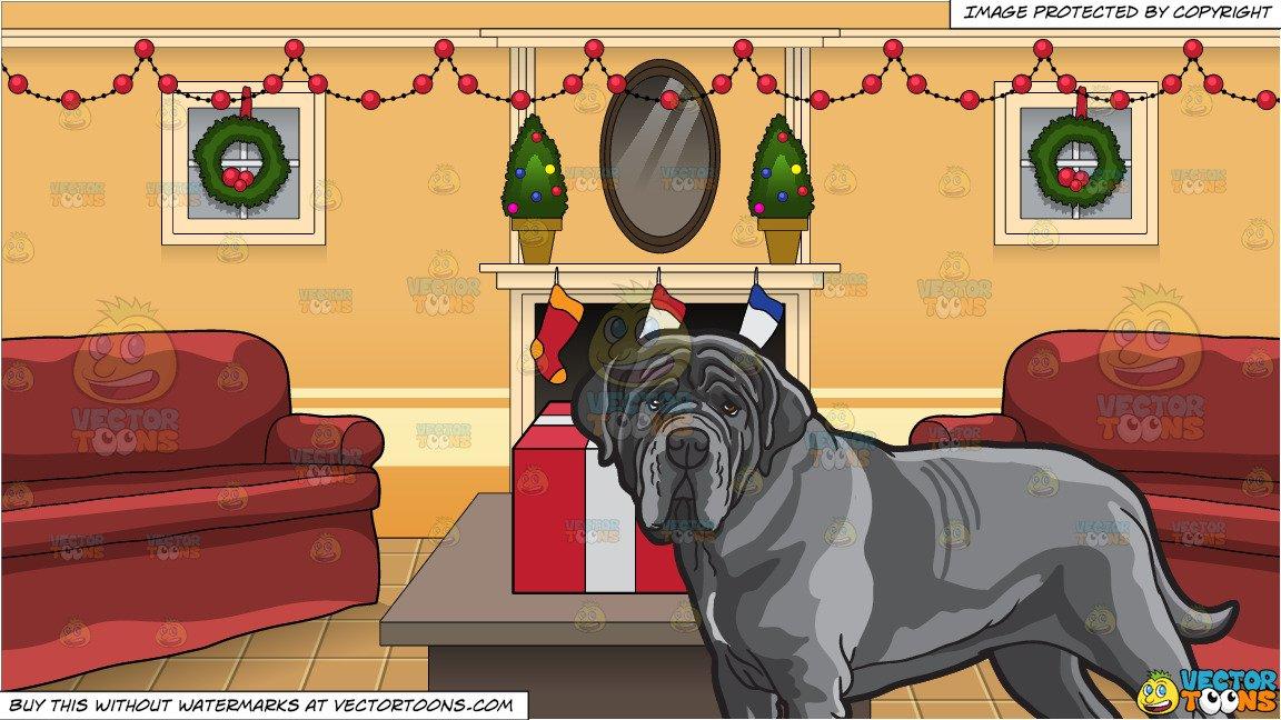 Christmas neopolitan mastiff clipart