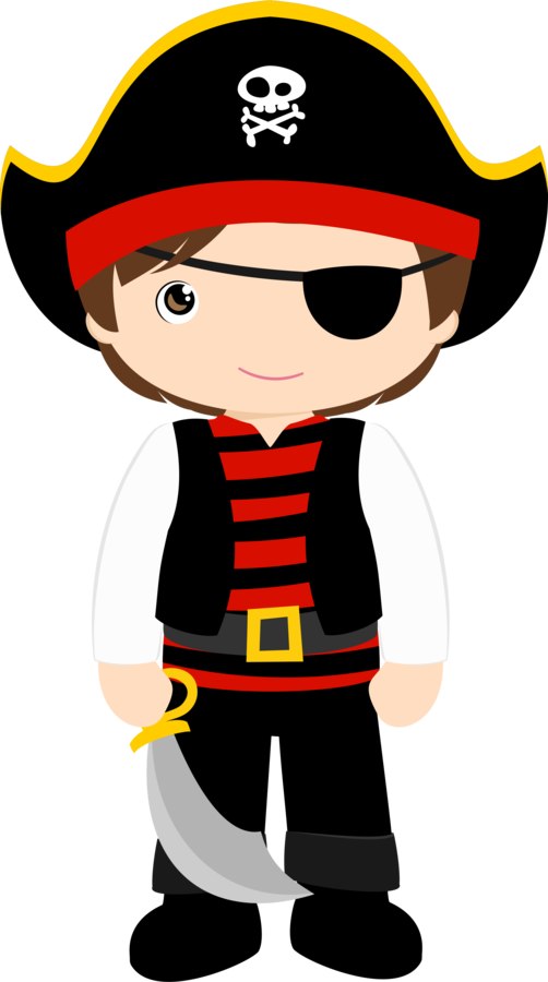 Minus say hello. Cute halloween pirate clipart