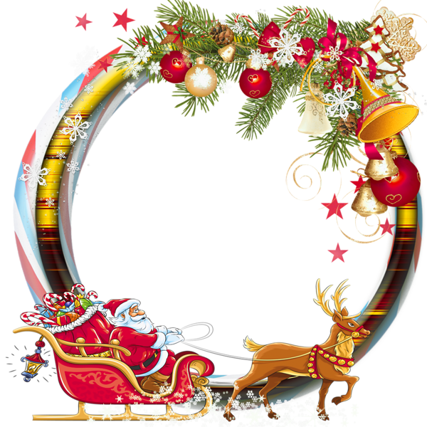 Christmas ornament border clipart jpg free Round Transparent PNG Christmas Photo Frame with Santa Sleng ... jpg free