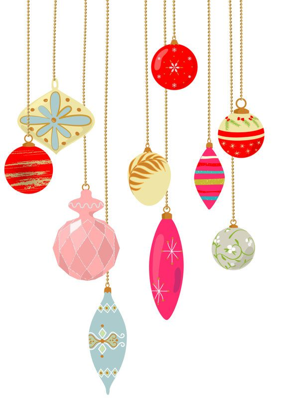 Christmas ornament clipart to color clip royalty free download 10 vintage Christmas ornament clip art, pastel color, retro ... clip royalty free download