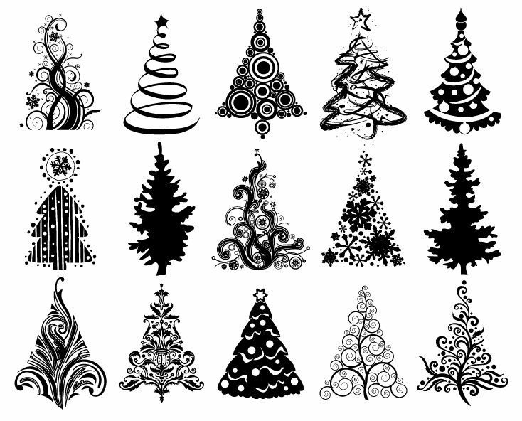 Christmas ornament set clipart black and white clipart freeuse library christmas graphic | Set of Christmas Trees Vector Graphic | Free ... clipart freeuse library
