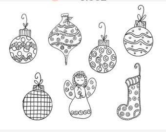 Christmas ornament set clipart black and white clip art freeuse stock Black And White Christmas Ornaments Clipart clip art freeuse stock