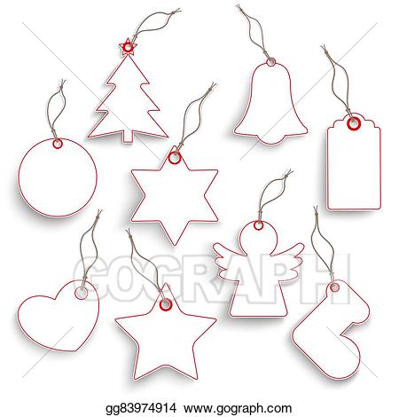 Christmas ornament set clipart black and white svg library download Stock Illustration - Big hanging christmas set red white price ... svg library download