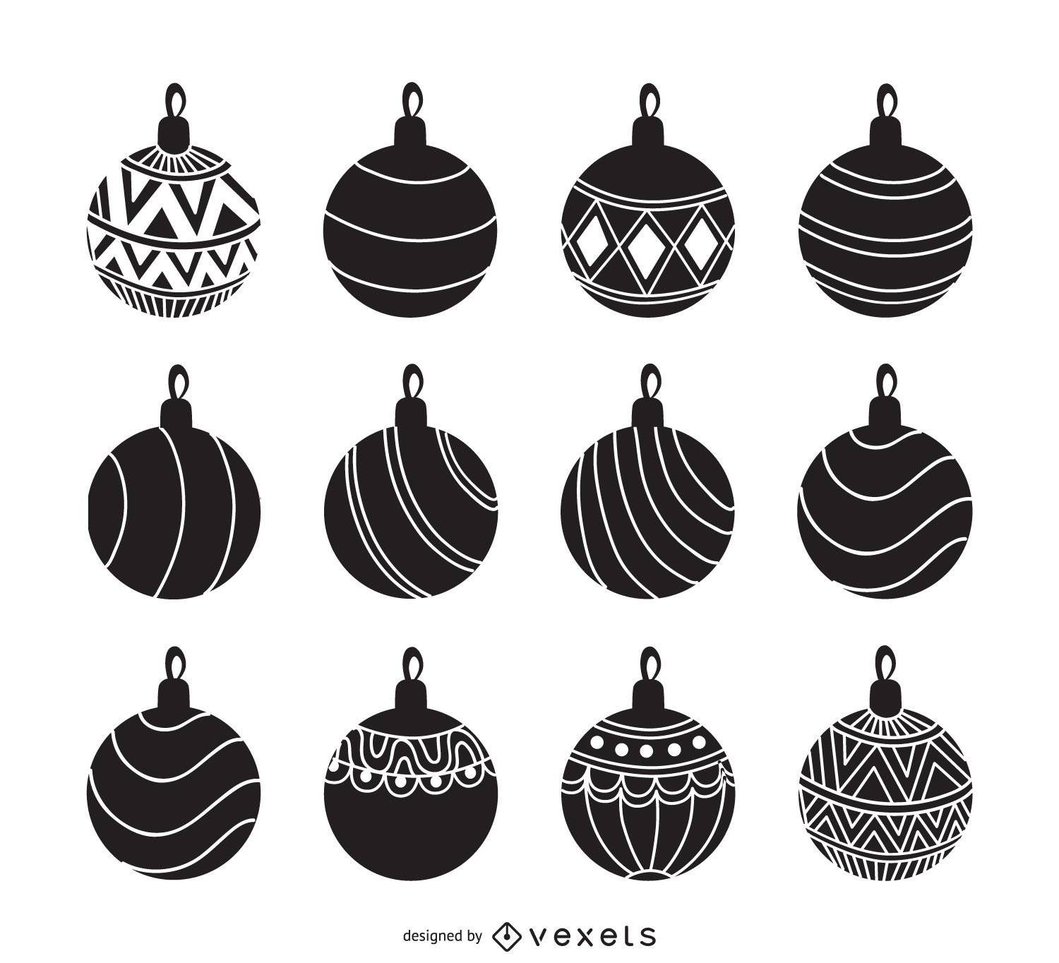 Christmas ornament set clipart black and white clip black and white download Christmas ornament silhouette set - Vector download clip black and white download