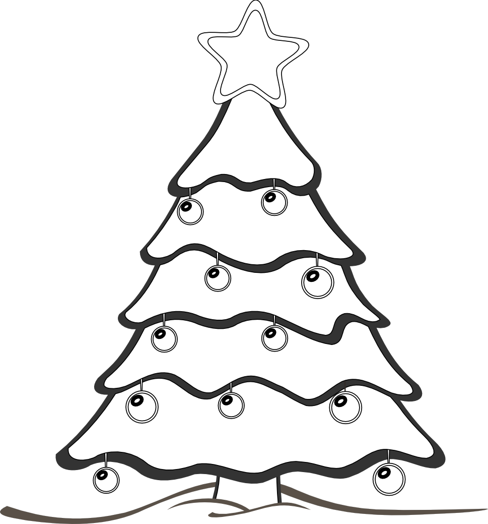 Christmas ornaments clipart black and white vector library stock Regency christmas tree black and white clipart vector library stock