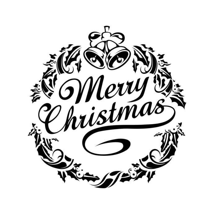 Christmas ornaments clipart black and white svg png free download Merry Christmas Ornament Graphics SVG Dxf EPS Png Cdr Ai Pdf Vector Art  Clipart instant download Digital Cut Print File Cricut Silhouette png free download