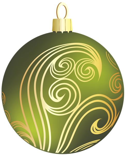 Christmas ornaments clipart jpeg black and white download Transparent Green and Gold Christmas Ball Clipart | ~ Ornaments ... black and white download