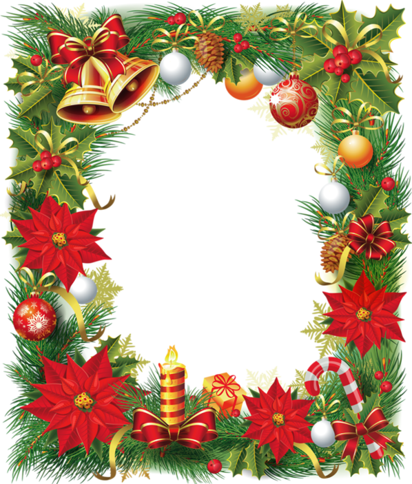 Clipart christmas background clipart royalty free Transparent Christmas Photo Frame with Poinsettia | Gallery ... clipart royalty free