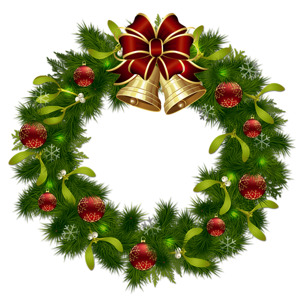 Christmas paper clipart banner library download Transparent Christmas Pinecone Wreath with Gold Bells Clipart ... banner library download