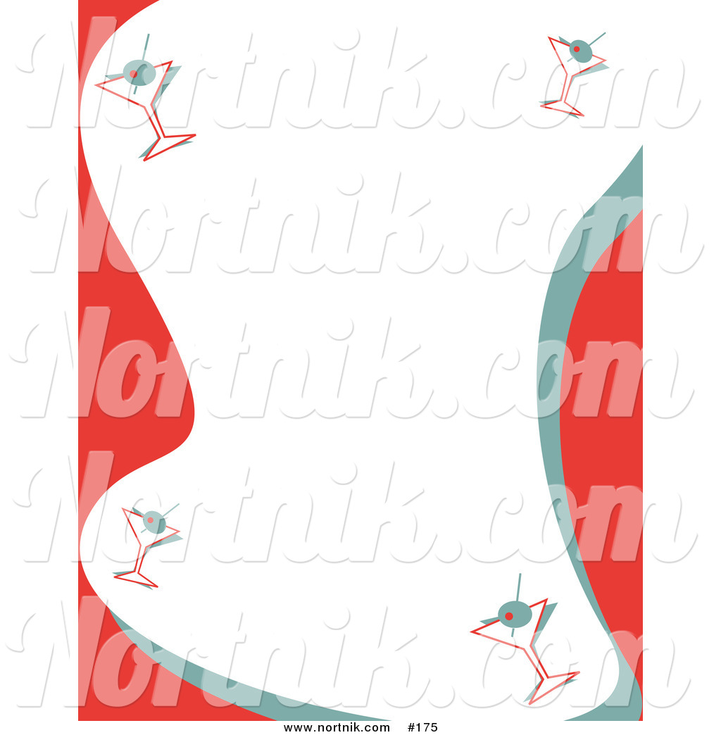 Christmas party border clipart black and white stock Clip Art of Christmas Party Martini Border by Andy Nortnik - #175 black and white stock