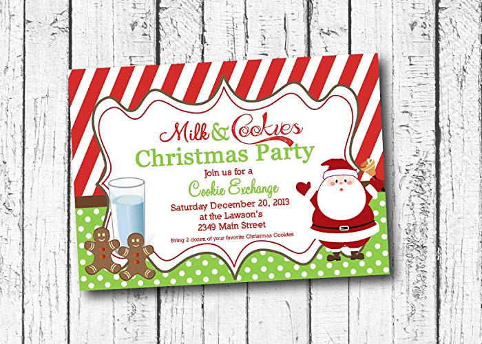 Christmas party invite clipart svg freeuse stock Amazon.com: Milk and cookies Christmas Party Invitation, Cookie ... svg freeuse stock