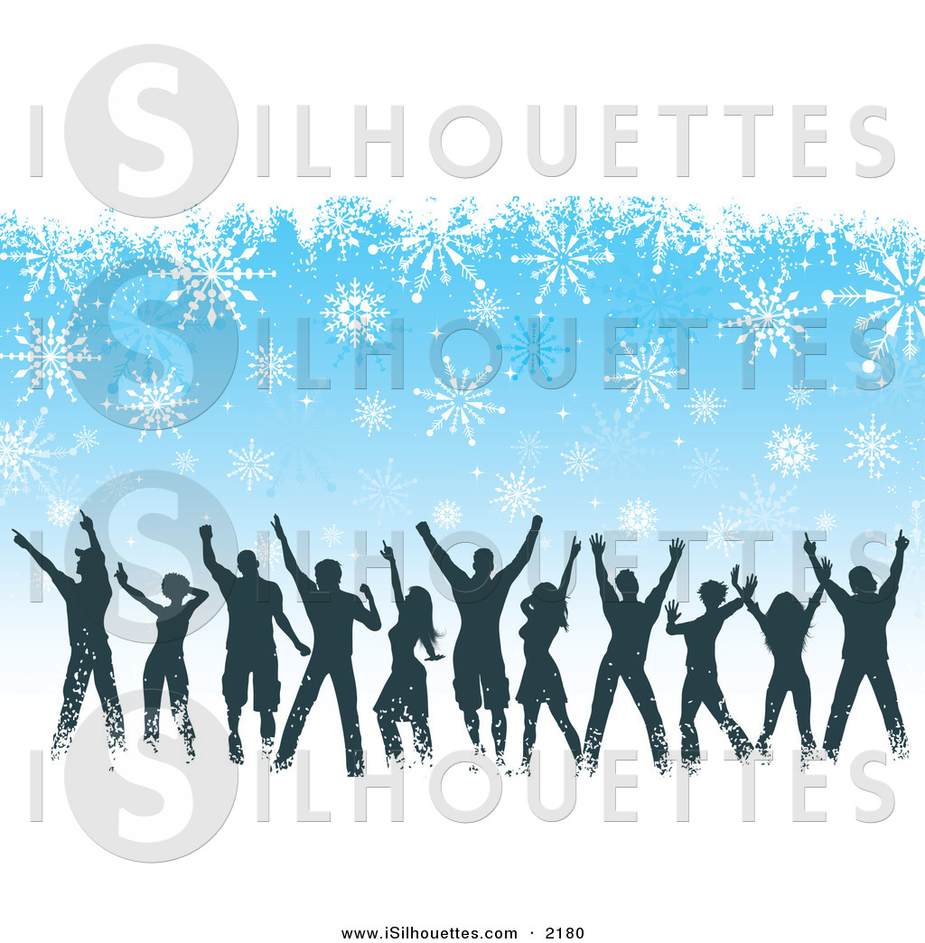 Christmas party dancing clipart vector black and white library Silhouette Clipart of a Silhouetted Group of People Dancing at a ... vector black and white library