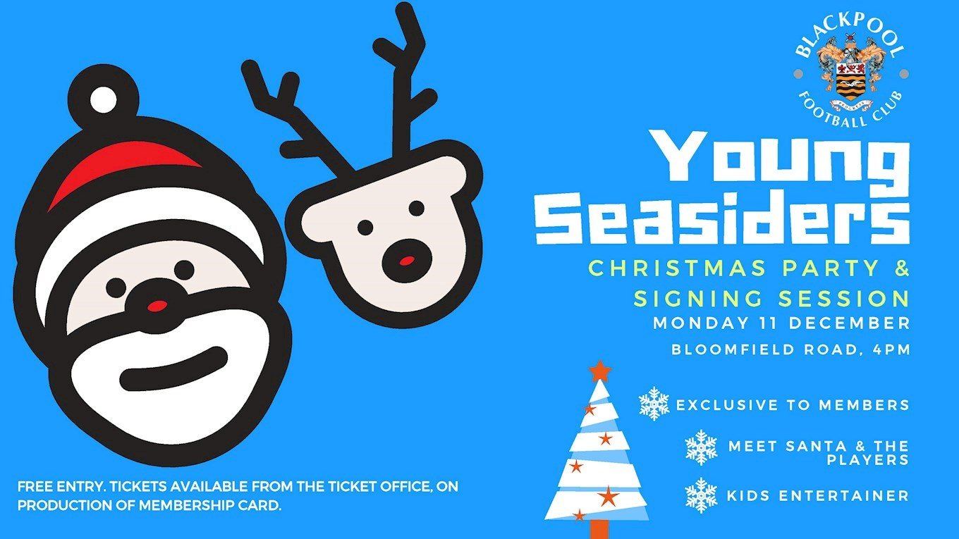 Christmas party ticket clipart banner black and white library Young Seasiders\' Christmas Party Details Confirmed - News - Blackpool FC banner black and white library