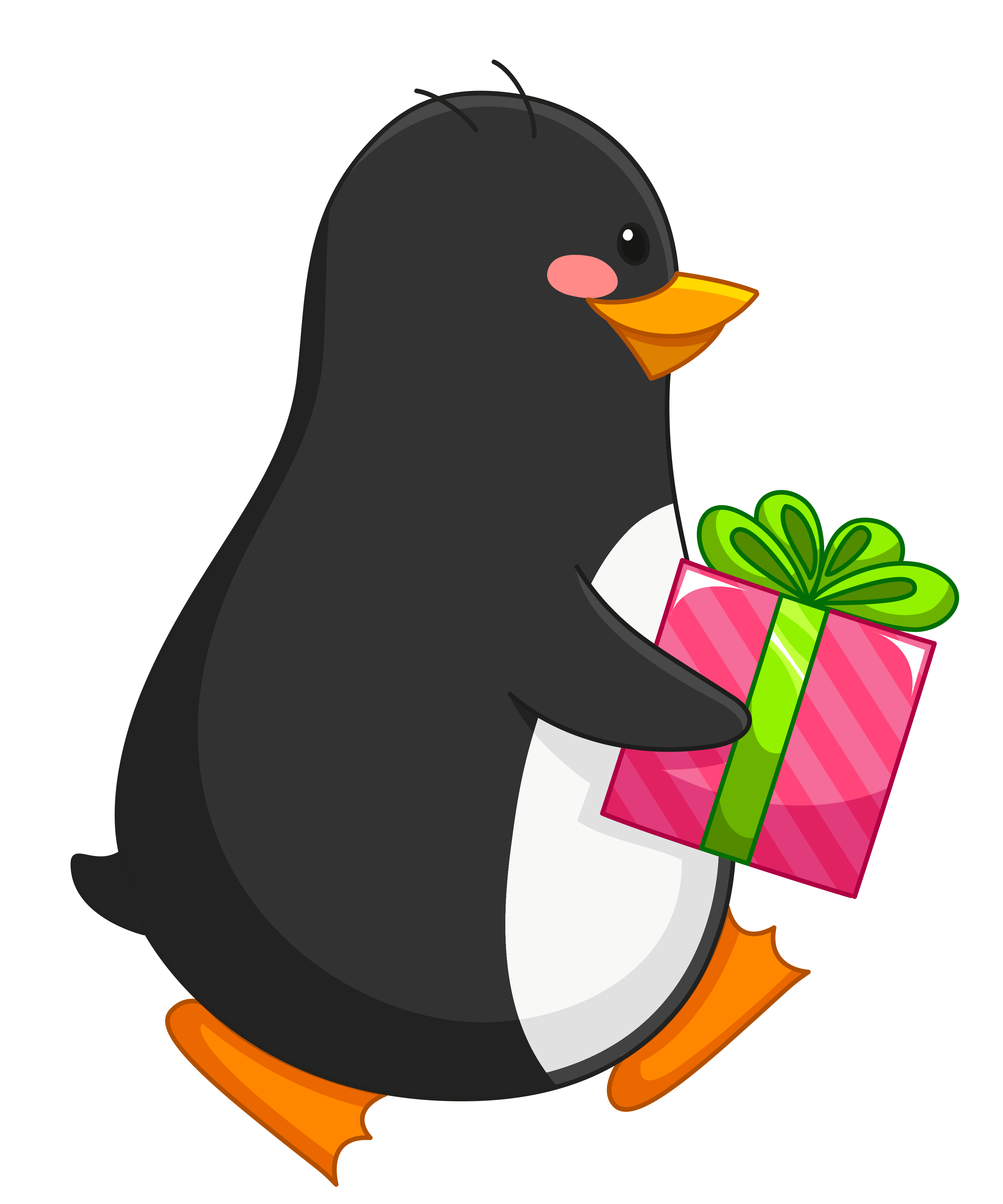 Christmas penguins clipart royalty free library Transparent Penguin with Gift PNG Clipart | Gallery Yopriceville ... royalty free library