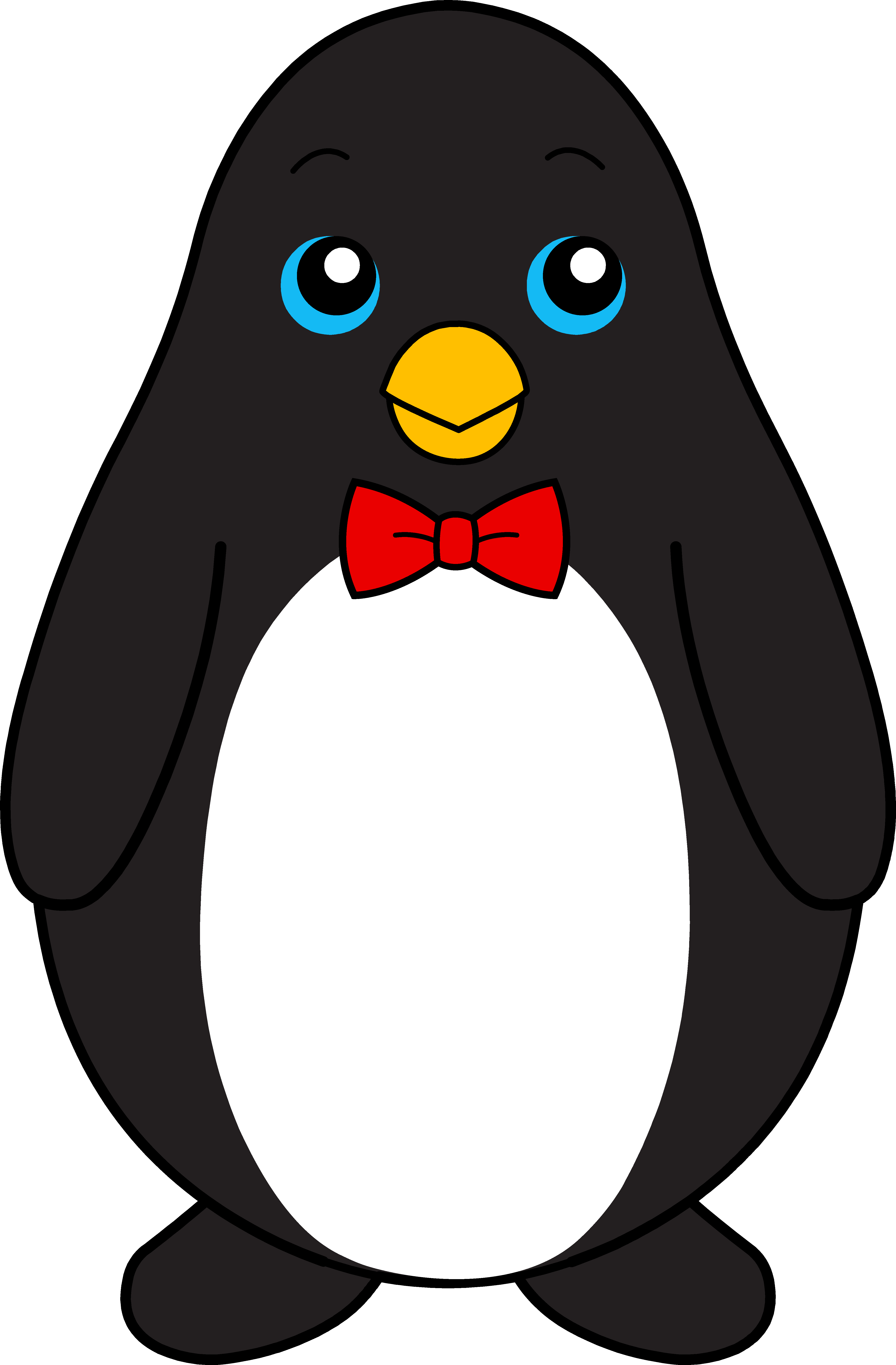 Christmas penguins clipart jpg free library Cute Black Penguin With Red Bow Tie - Free Clip Art | Penguin Party ... jpg free library