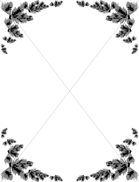 Christmas pine boughs corner black and white clipart picture free stock Grayscale Pine Corners | Winter Borders picture free stock