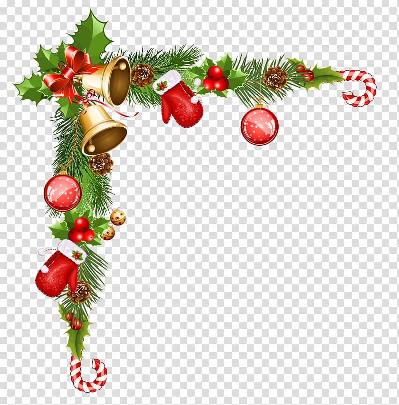 Christmas pine boughs corner black and white clipart svg free download Christmas cane and ings border, Christmas ornament Santa Claus ... svg free download
