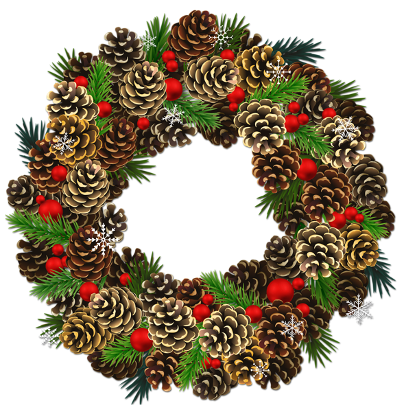 Snowflake wreath free clipart vector stock Transparent Christmas Pinecone Wreath PNG Clipart | watercolor ... vector stock