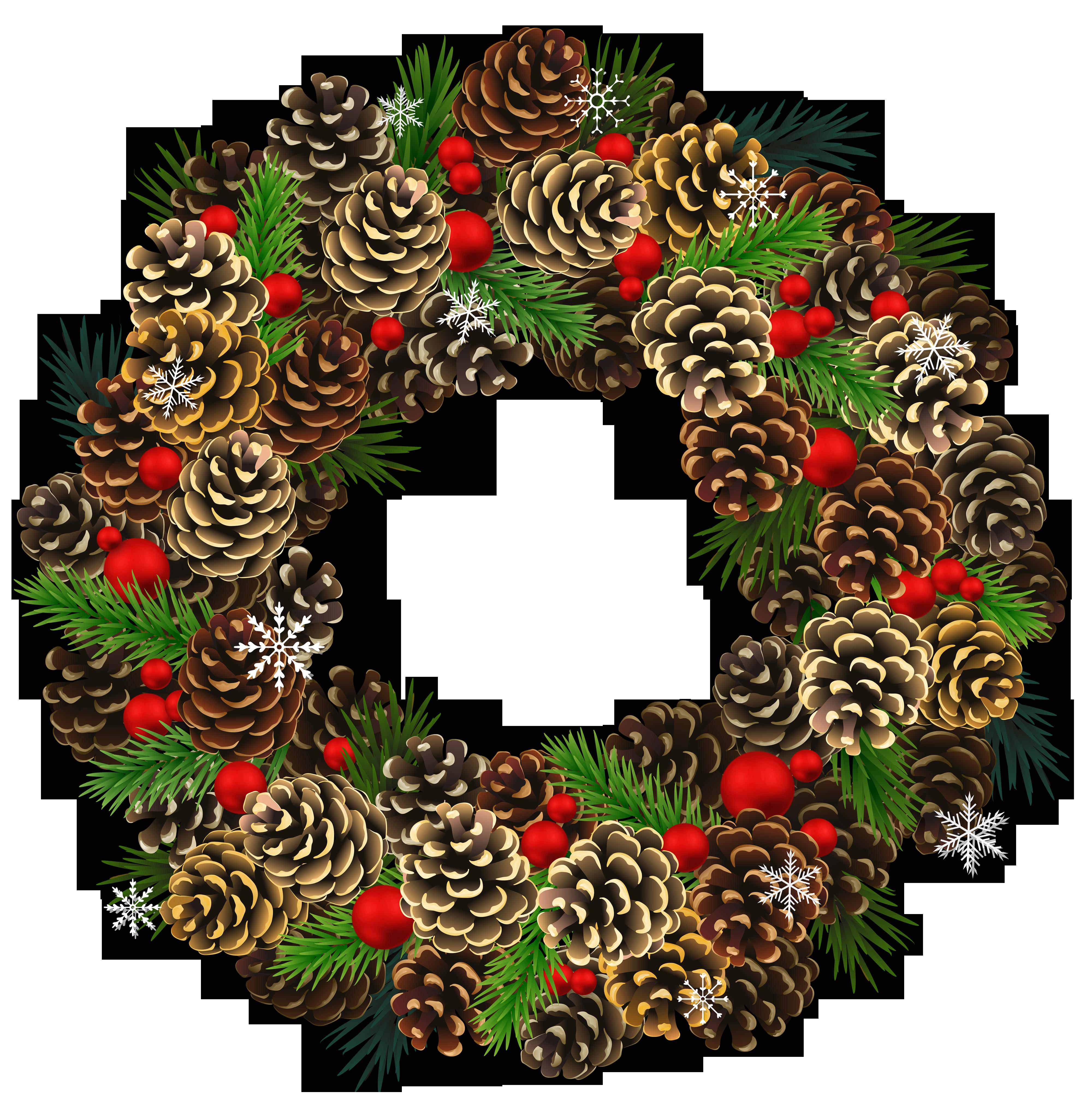 Christmas pinecone clipart clip art download Transparent Christmas Pinecone Wreath PNG Clipart | Gallery ... clip art download