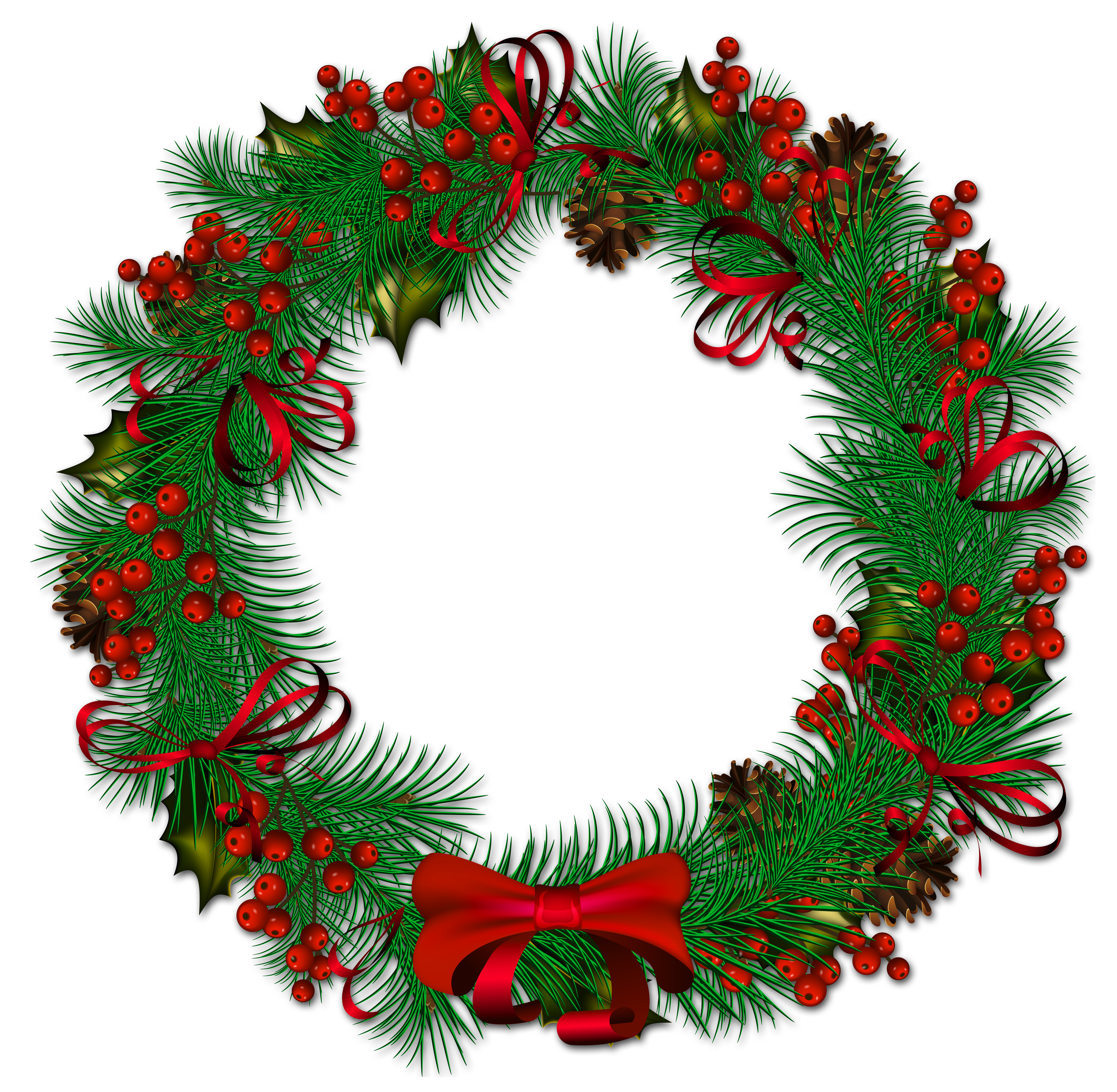 Free christmas wreath clipart image freeuse Transparent Christmas Pinecone Wreath with Red Ribbon Clipart ... image freeuse