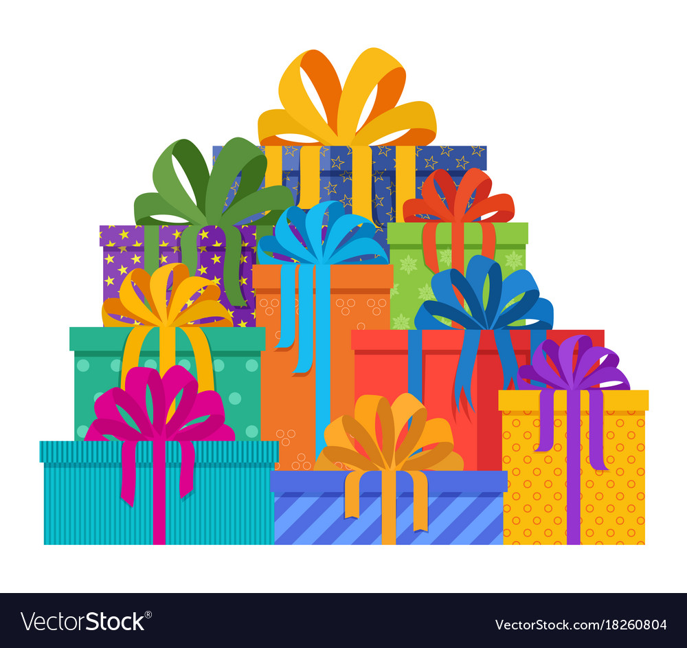 Christmas present pile clipart freeuse library Big pile of christmas gifts in holiday packages freeuse library