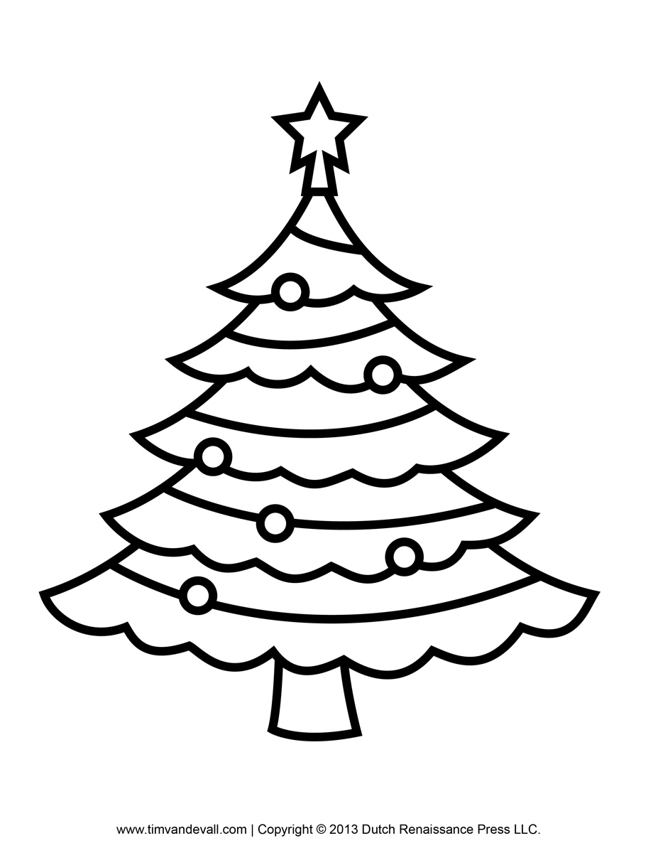 Christmas printables clipart clip black and white Printable Paper Christmas Tree Template and Clip Art clip black and white