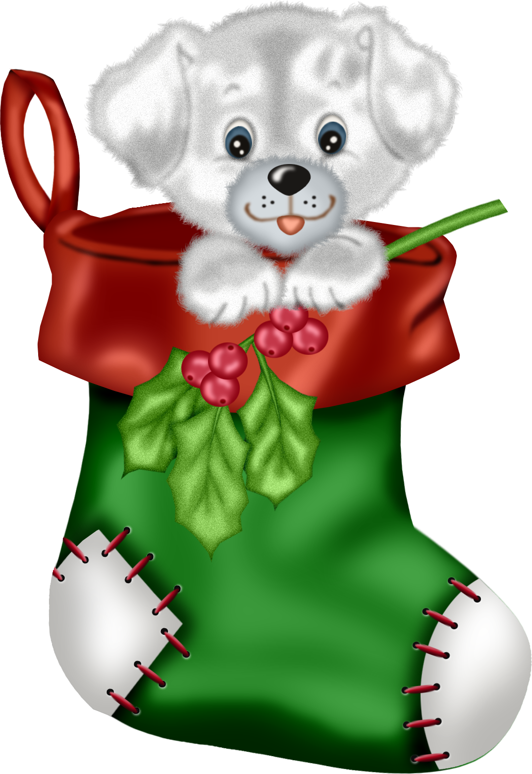 Stockings christmas clipart clip stock Christmas Green Stocking with Puppy PNG Clipart | Gallery ... clip stock