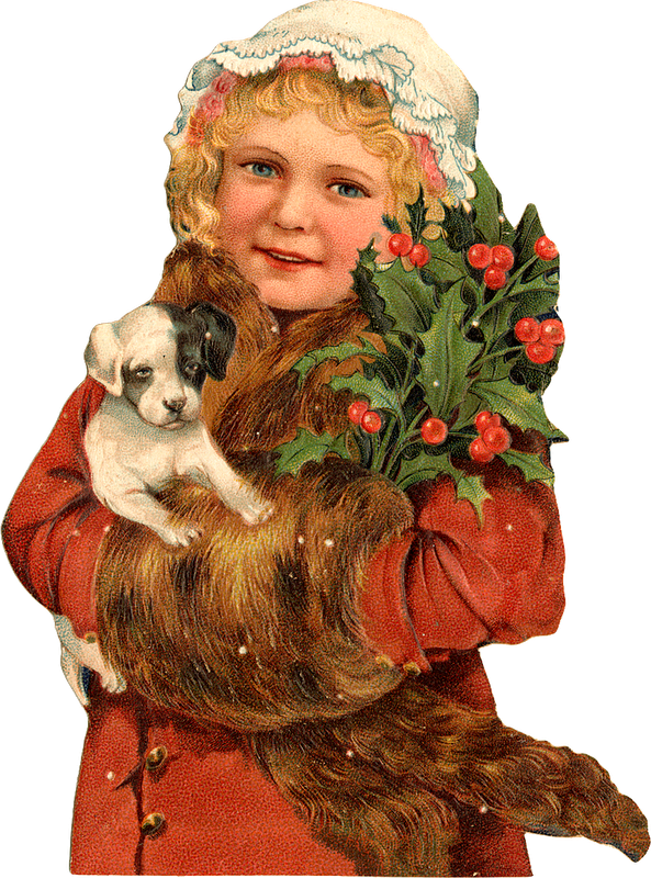 Christmas puppy clipart banner free library Christmas Vintage Scrap, girl with puppy/dog. Christmas | Vintage ... banner free library