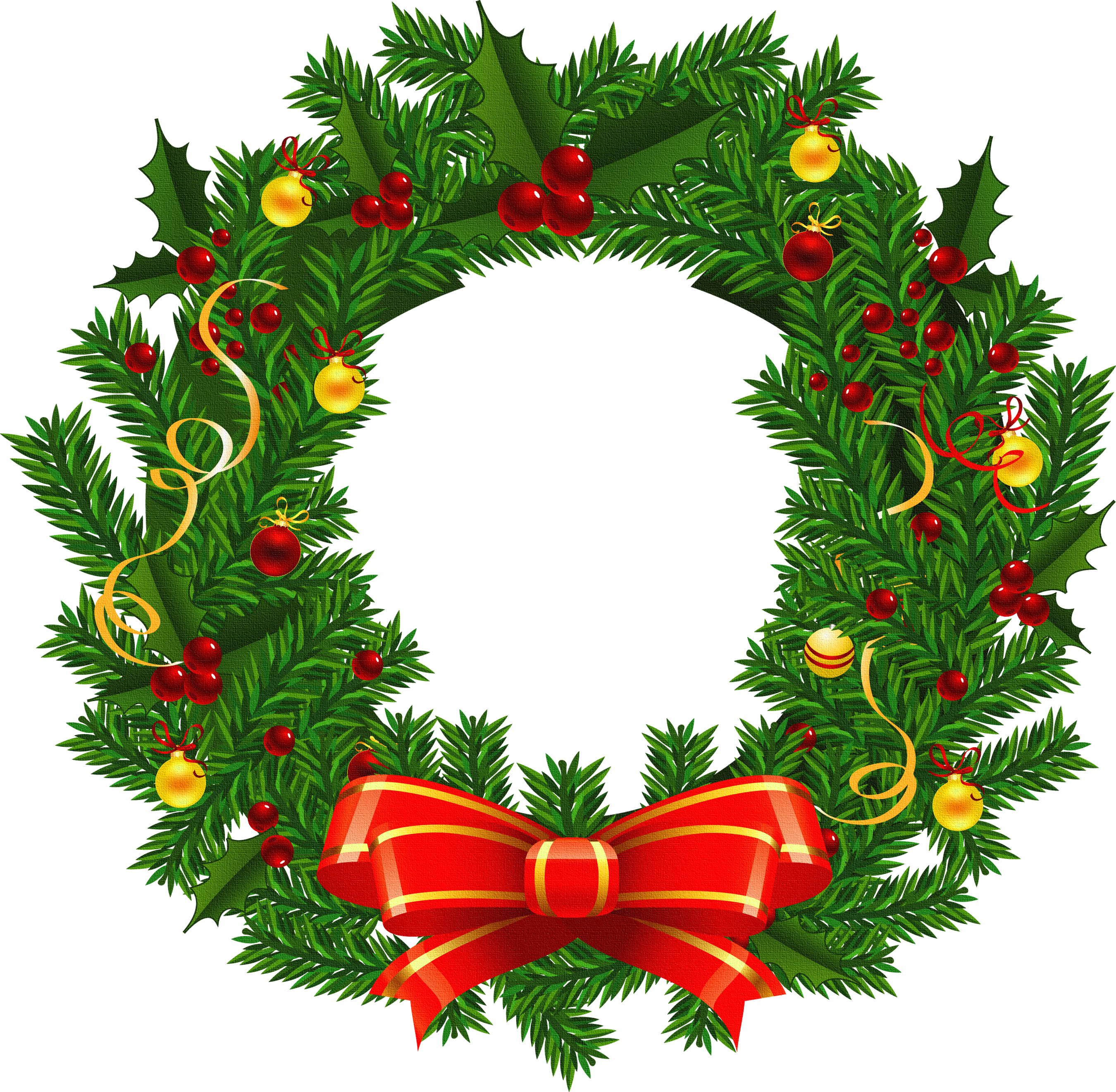 Holly wreath clipart banner royalty free library Large Transparent Christmas Wreath PNG Picture | Gallery ... banner royalty free library
