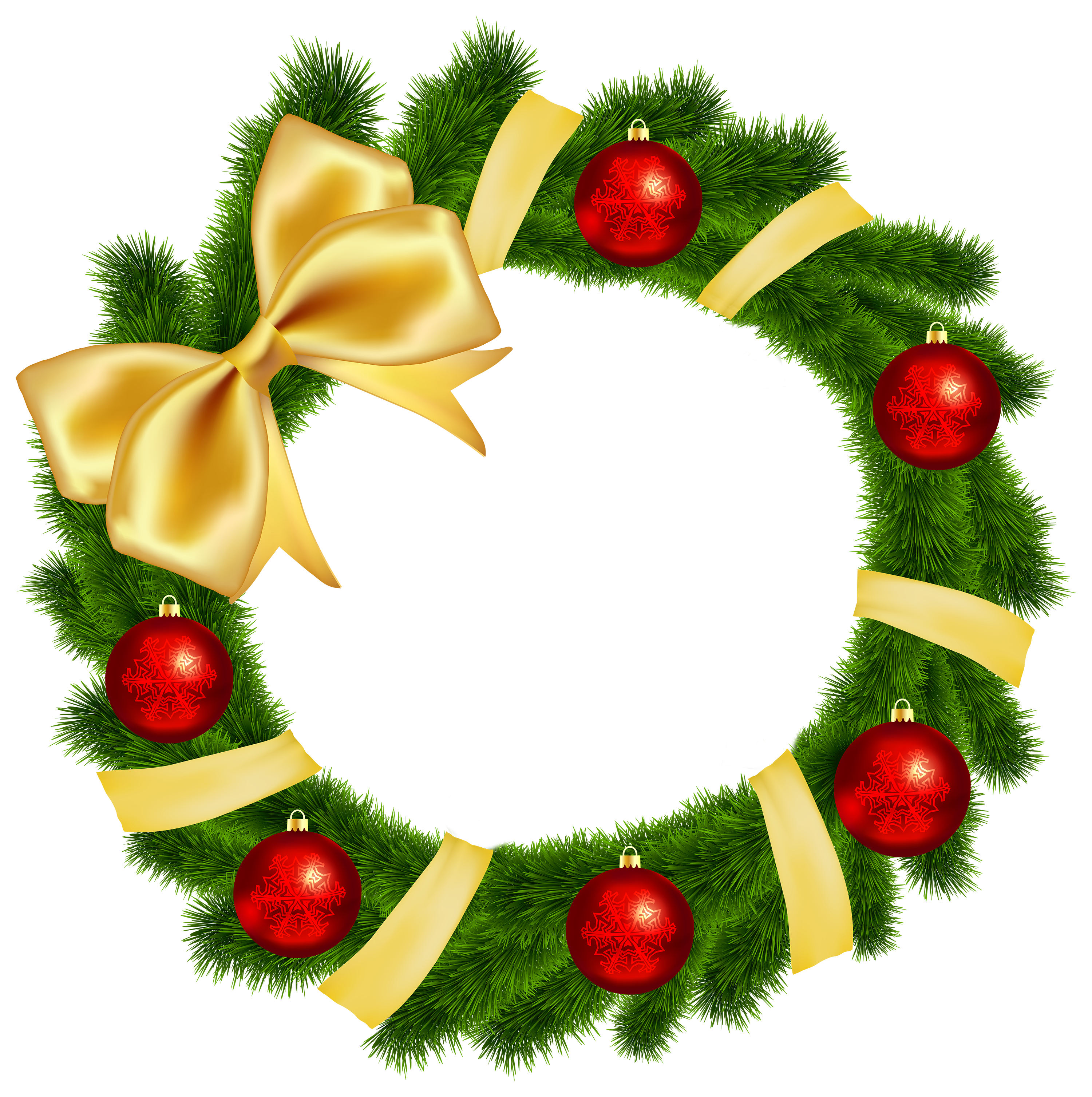 Xmas wreaths images clipart vector download Christmas Wreath with Yellow Bow Transparent PNG Clip Art Image ... vector download