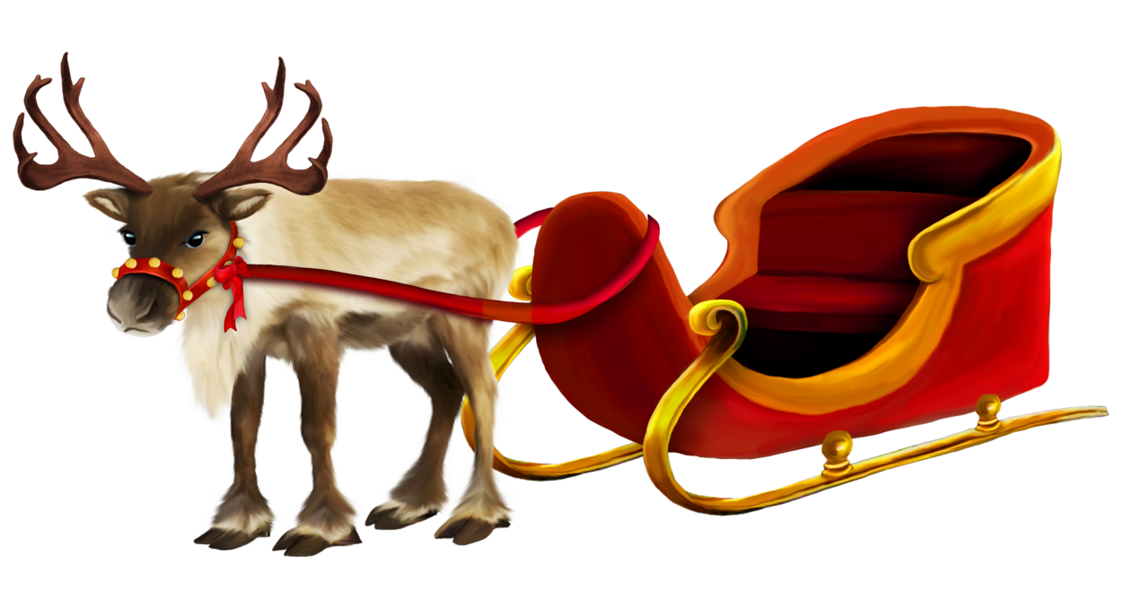 Christmas reindeer clipart free vector transparent library Christmas Reindeer and Sleigh png Picture | Gallery Yopriceville ... vector transparent library