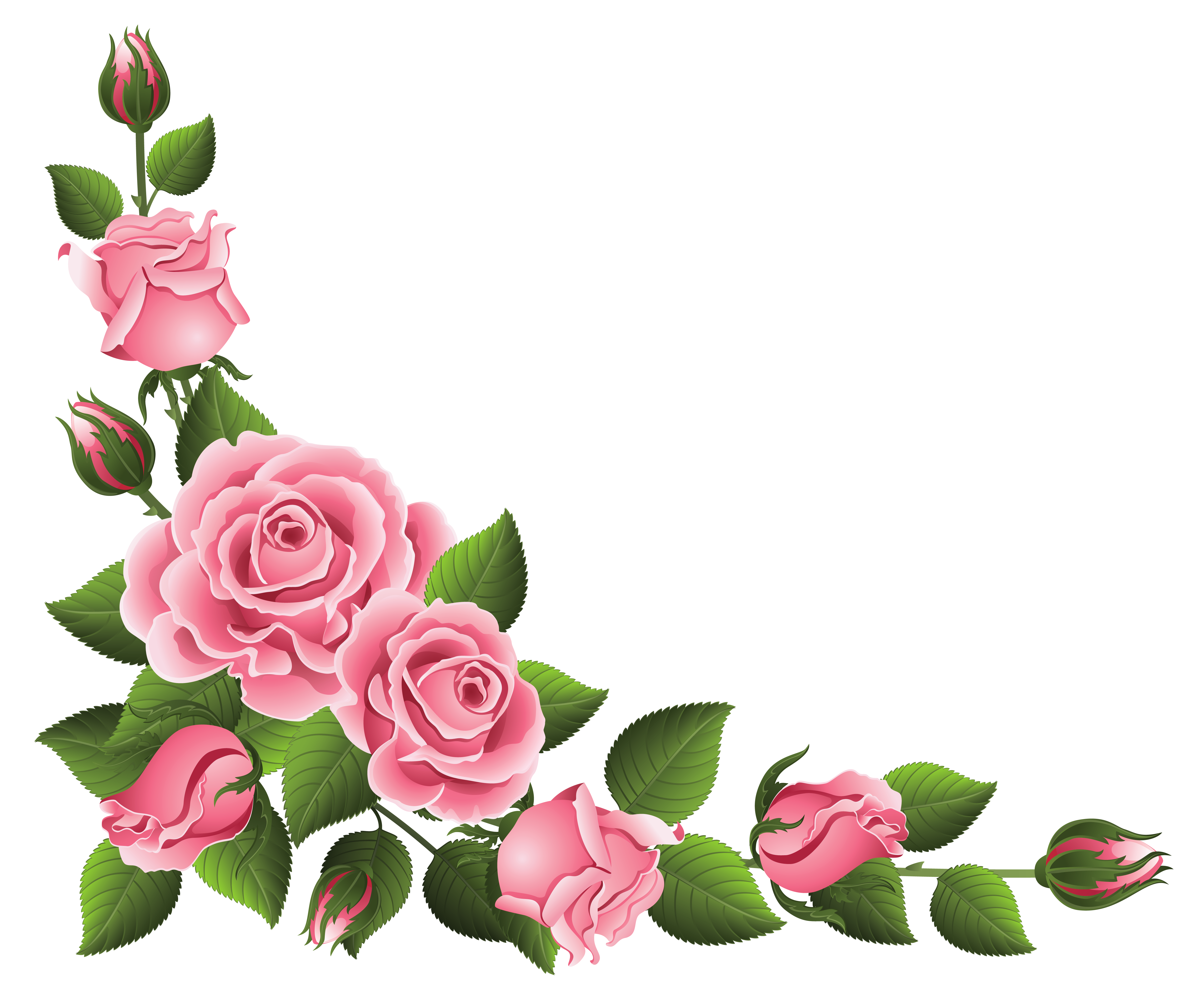 Flower corner border clipart free stock Corner Decoration with Roses PNG Clipart Picture | Gallery ... stock