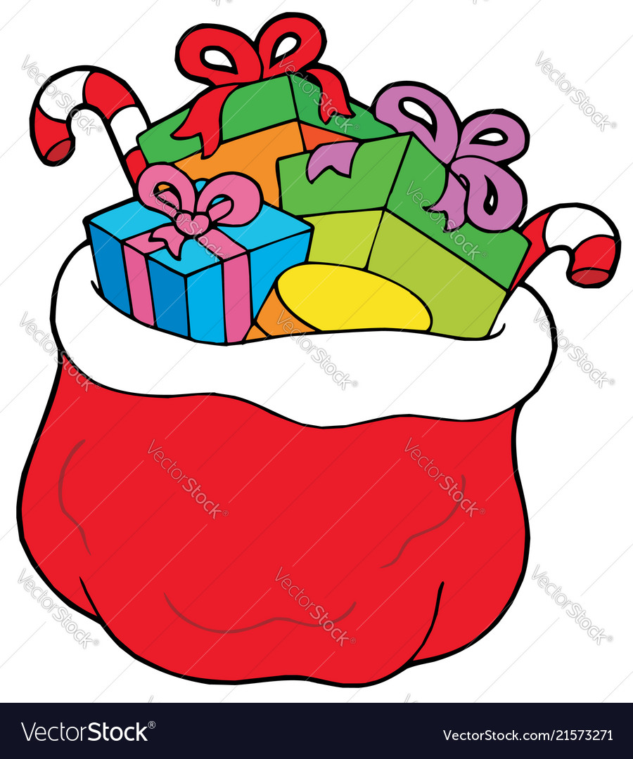 Christmas sack clipart image library Christmas bag with gifts vector image image library
