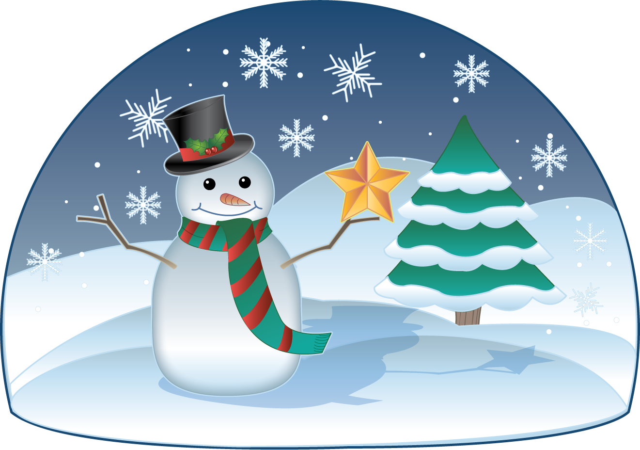 Winter holiday scene clip. Free clipart of things breaking under stress