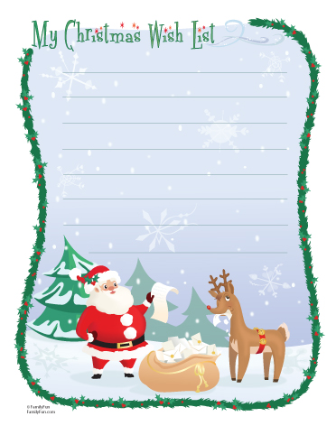 Christmas shopping list clipart picture royalty free Christmas Wish List (Printable Christmas Activity for Kids ... picture royalty free