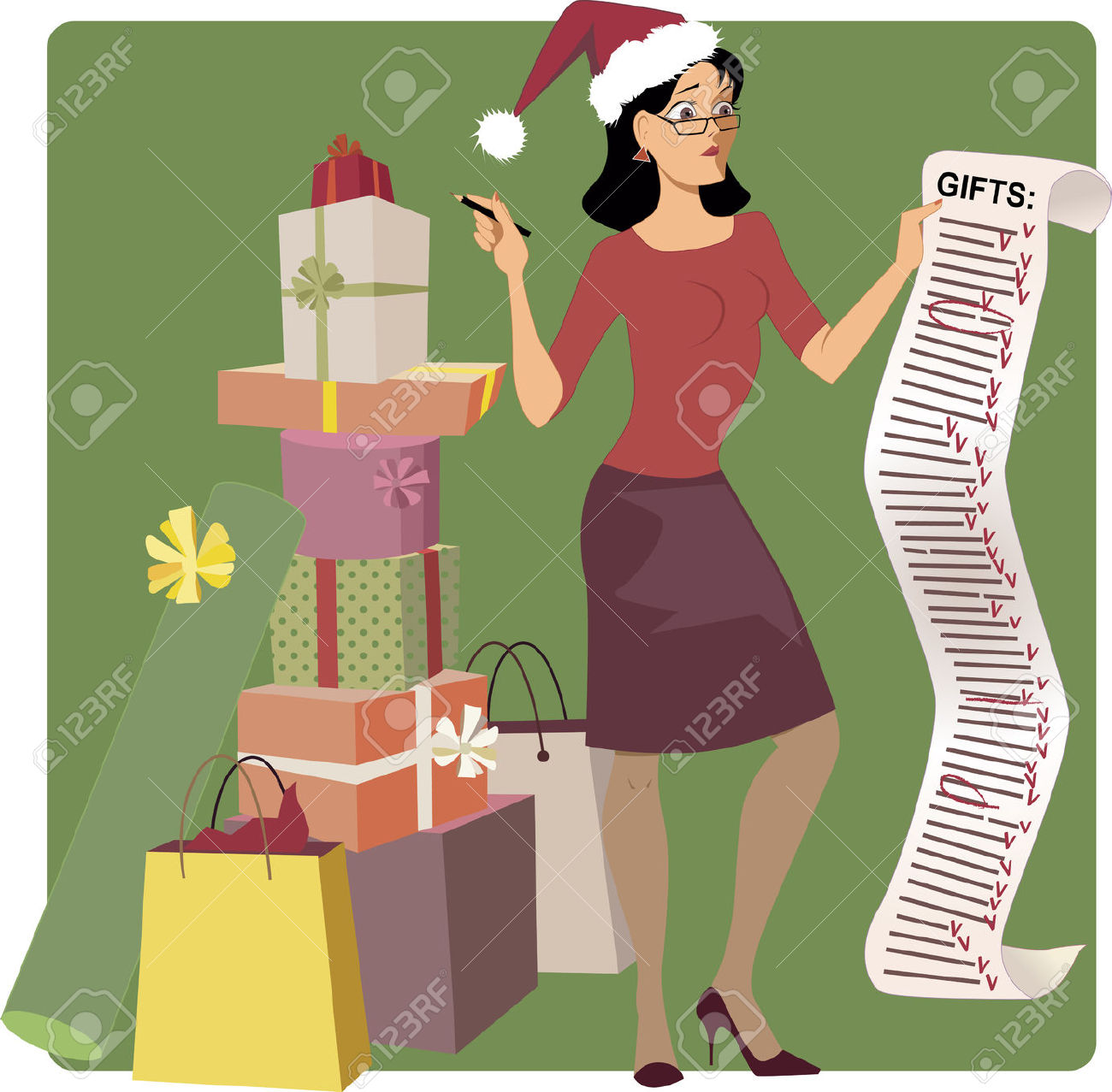 Christmas shopping list clipart image library stock Stressed Woman In A Santa Hat Crossing Out Names From A Long ... image library stock